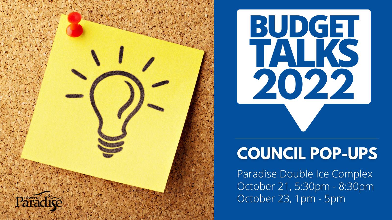 Budget Talks 2022 Council Pop-Ups